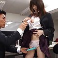 Hotaru Yukino Asian smiles as she receives a long pink dildo