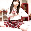 Japanese AV Model plays with boobs and pussy under her uniform
