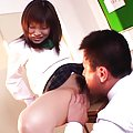 Ruri Houshou Asian teen gets hairy pussy exposed and licked