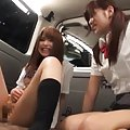 Amateur Asian and gal have cunts fingered and nailed in the car