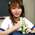 Aya Natsuki Asian in sports outfit plays with vibrator in class