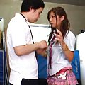 Hibiki Ohtsuki Asian in very short skirt has slit licked on thong
