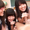 Japanese AV Model and gals lick rub and suck cock in classroom