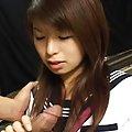Riko Araki Asian in uniform takes such good care of phallus