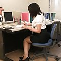 Japanese AV Model is horny and eager to fuck while at the office