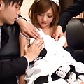 Aya Hasegawa Asian in house keeper uniform is caressed by hunks