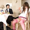 Japanese AV Model is visited by masked man at ther breakfast