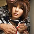 Rina Aizawa Asian in sailor uniform has slit rubbed in library