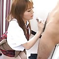 Japanese AV Model is caressed on ass over panty and sucks tool