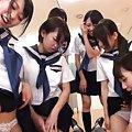 Japanese AV Model and babes in school uniform lick stud nipples
