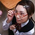 Hinna Ohtsuka Asian in uniform gets cum on specs from hard penis