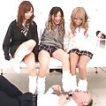 Japanese AV Model and babes touch teacher with feet in socks
