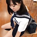 Japanese AV Model has hairy pussy touched under skirt on desk