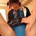 Yuzu Ogura Asian has beaver licked under bath suit and uniform