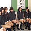 Japanese AV Model with hot behind has asshole exposed to babes