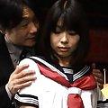 Minami Machida babe in schoolgirl clothes shows off her anus