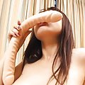 Rei Himekawa Asian with juicy titties licks very long dildo