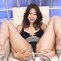 Chihiro Hara Asian doll shows a close up on fingering her anus