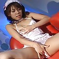 Maho Sawai Sexy Asian doll in lingerie fingers her tight anus and shows close up