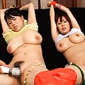 Nana Aoyama and babe with huge tits have vibrators on peaches