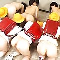 Japanese AV Model and dolls have twats licked by gals in uniforms