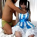 Asian whore in blue is fucked hard in her ass by her horny date