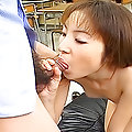 Naughty Japanese model Emi has a hairy pussy and likes cum facials