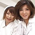 Ai Miyazaki jerks a patient´s cock lustily with her horny nurse friend