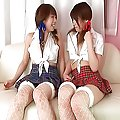 Saki Asaoka gets railed and reamed while her sexy friend fondles her sensually.