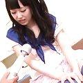 Machiko Ono Asian in blue stockings gets vibrator on love box