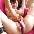 Hina Hanami pours oil on her boobs then titty fucks a hard cock