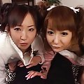 Amai Mitsu Asian and chick are undressed and screwed by same guy
