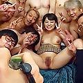 Tsugumi Mutou Asian puts man feet close to her oiled bee stings