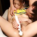 Japanese AV Model is fucked with vibrator and has nipples licked