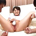 Rika Sakurai´s pussy is fucked deeply by a long pink vibrator