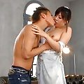 Azumi Harusaki gets a facial after her teen pussy is fucked