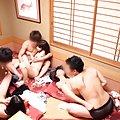 Japanese AV Model enjoys a huge blow bang gang bang with friends