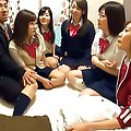 Hatsumi Kudo Asian is so happy to have boners to lick and stroke