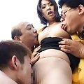 Ringo Kurenai Asian has coat opened and fine boobies licked